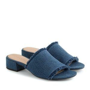 J.Crew Blue Denim Mules Alice Slide Sandals